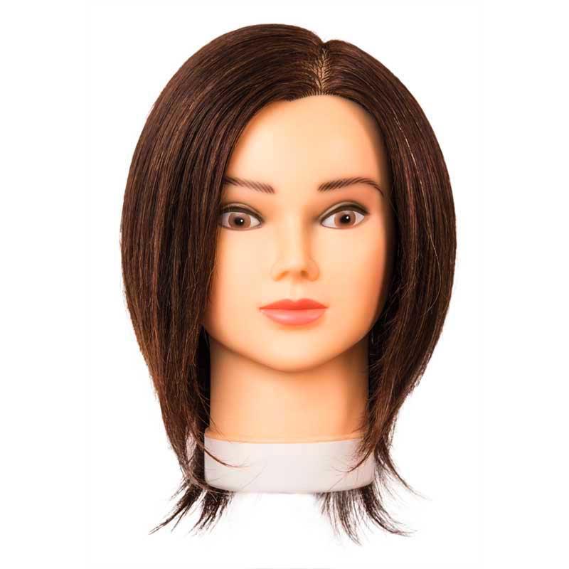 Mex pro Hair Schnittkopf Mia mit Echthaar Braun 25 cm