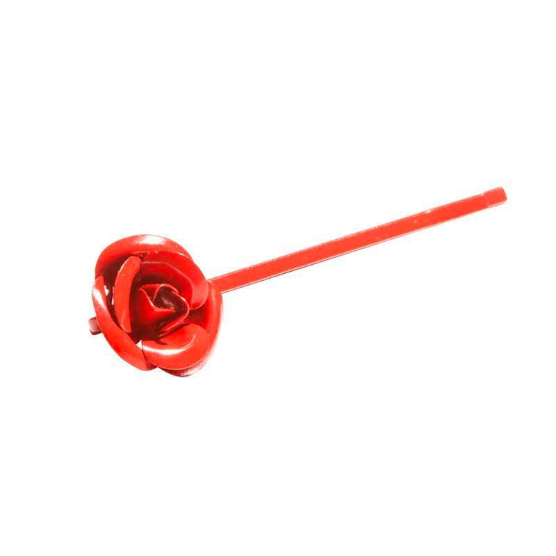 Mex pro Hair Haarklammer Rot mit Blume (3 Stück)