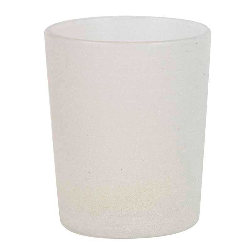 Dekoration & Zubehör Teelichtglas Frost, Weiß