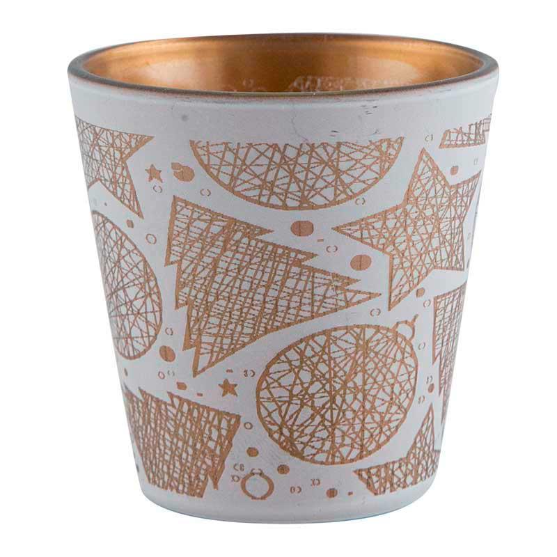 Zubehör Teelichtglas Weihnachtsmotive weiß