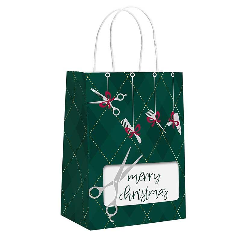Dekoration & Zubehör Weihnachtstüte Friseur-grün 22,5 x 17,5 x 10 cm (12 Stück)