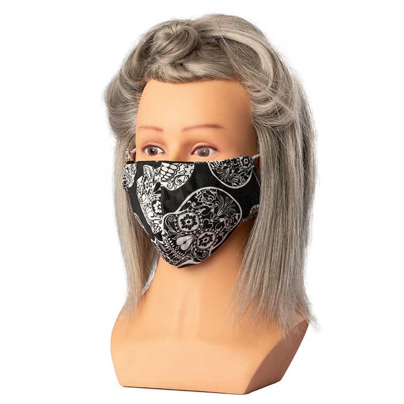 Mex pro Hair Mund/Nasenschutz Stoff Totenkopf schwarz/weiß